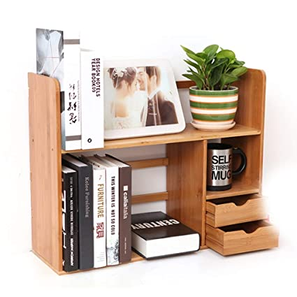 Bookshelf Racks Desktop Storage Rack Student Small Bamboo Simple Color Wood