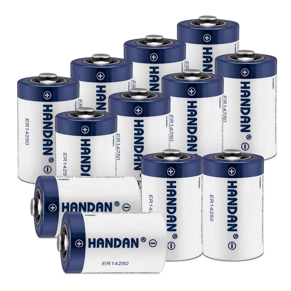 12 Pack ER14250 Battery 1/2 AA Size LS 14250 3.6V 1200 mAh Lithium Batteries (Non Rechargeable) Compatible for Dog Watch Fence Collars, Some of Baby Movement Monitor, Alarm Systems by Haidan