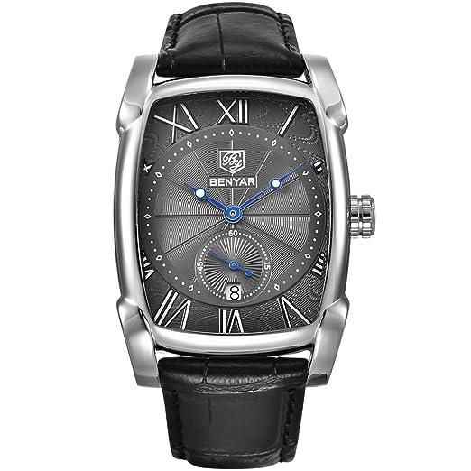 benyar impermeable clásico Rectángulo diseño de la carcasa relojes correa de piel Business Casual reloj de pulsera para hombres: Amazon.es: Relojes