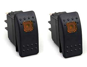 Qiorange 4 Pcs Auto KFZ Schalter 12V 30A Wippschalter Ein-Ausschalter mit Blau LED Anzeige Wechsel Switch Kippenschalter Schalter