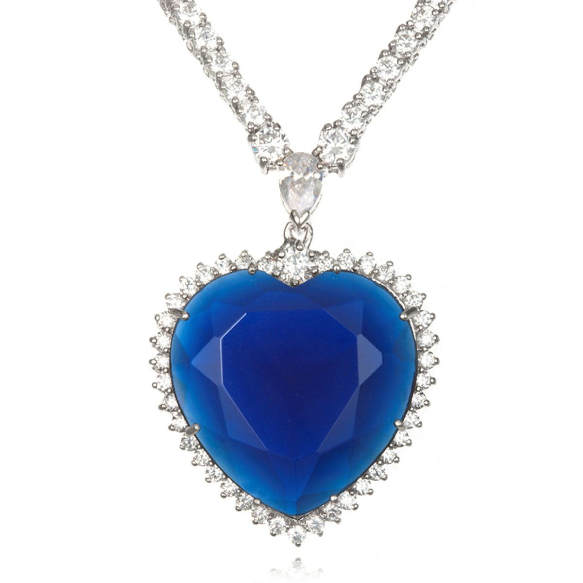 Rhodium Plated Brass Simulated Sapphire Titanic Heart Necklace-17''
