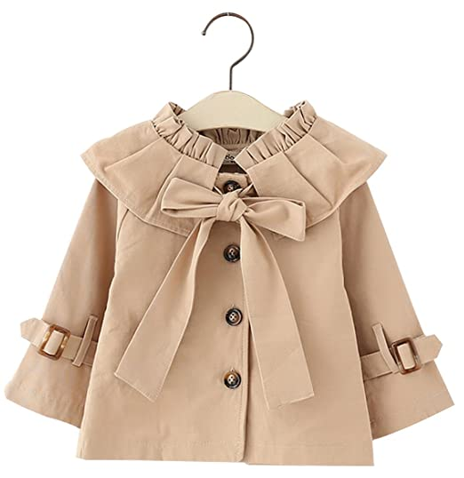 1f93eeb11efd Amazon.com: Kids Baby Girls Spring Fall British Style Princess Bowknot Outerwear  Jacket Ruffle Windproof Trench Coat: Clothing