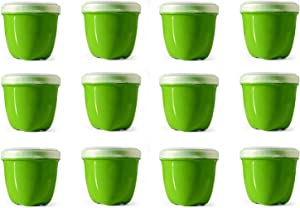 Preserve Reusable BPA Free 8 ounce Mini Food Storage Container with Screw Top Lid, Bulk Set of 12, Apple Green