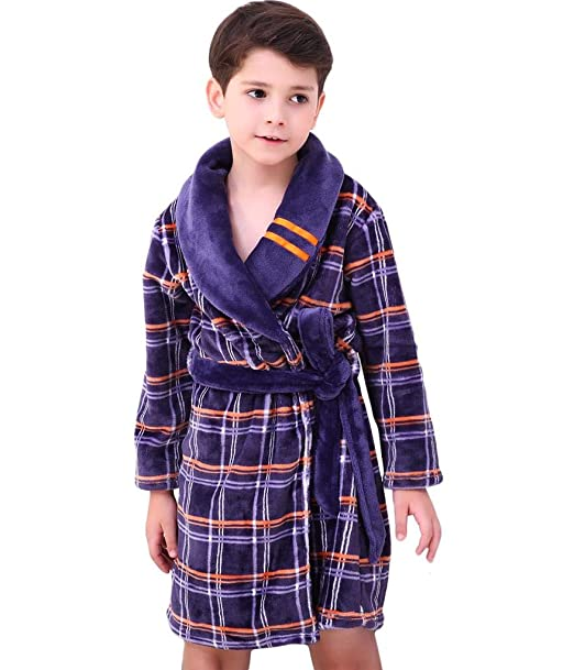Bwiv Kids Soft Flannel Dressing Gown Plush Boys Girls Children Coral Velvet  Pajamas with Waistband Warm Nightwear Fleece Nightgown Long Sleeve Unisex  Kids ... 06c4ddc26