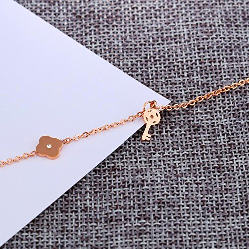 Mmiiss Key Chain Ankle Bracelets for Women 18K Gold Plated Flower Charm Anklet Adjustable Size