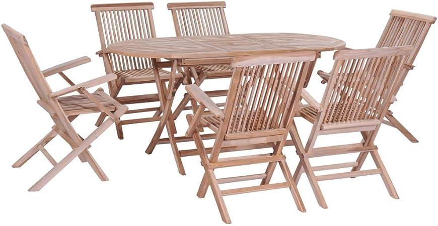 UnfadeMemory Muebles Plegable de Jardin Exterior,Mesa y Sillas Plegables Jardin Madera,Madera Maciza de Teca (7 Pzas,Mesa Plegable y 6 Sillas): Amazon.es: Hogar