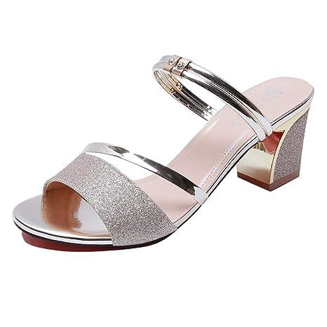5074d57df98d08 Amazon.com  JJLIKER Women Sequins Rhinestone Thick Heel Sandals Outdoor  Fashion Peep Toe Slippers  Clothing