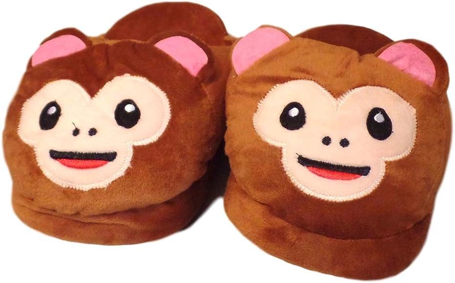 Fluffy Soft Warm Plush Stuffed Animal Monkey Slip On Indoor House Slippers for Little Kids
