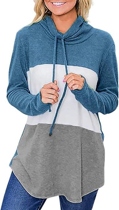 Camisas de Mujer Blusa de Manga Larga con Cuello Alto y Manga ...