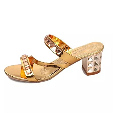 1dda7e498d4693 Women s Fashion Block Heeled Slides Rhinestone Dress Sandals Peep Toe Slip  On Wedge Shoes Golden