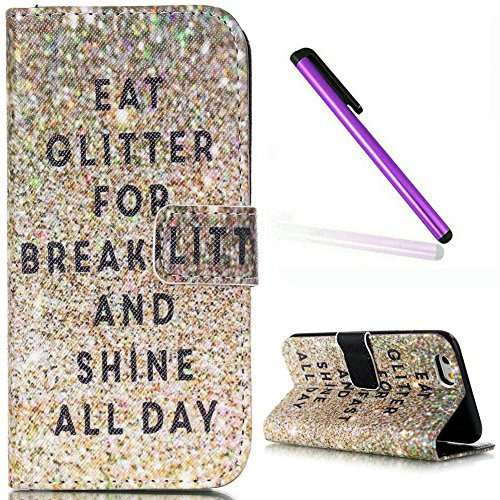 iPhone 6S Case,iPhone 6 Wallet Case,EMAXELER iPhone 6S Flip Folio Case,Beautiful illustration PU Leather Flip Protective Case Cover with Stand Wallet for Apple iPhone 6/6S-Glitter