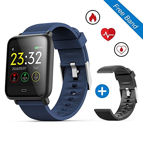 "Leegoal Waterproof Fitness Tracker Watch, Q9 1.3"" Color Touch Screen Smart Bracelet with Heart Rate/Blood/Pressure/Sleep Monitor GPS Activity Tracker Pedometer Calorie Bluetooth Call for Android/IOS"
