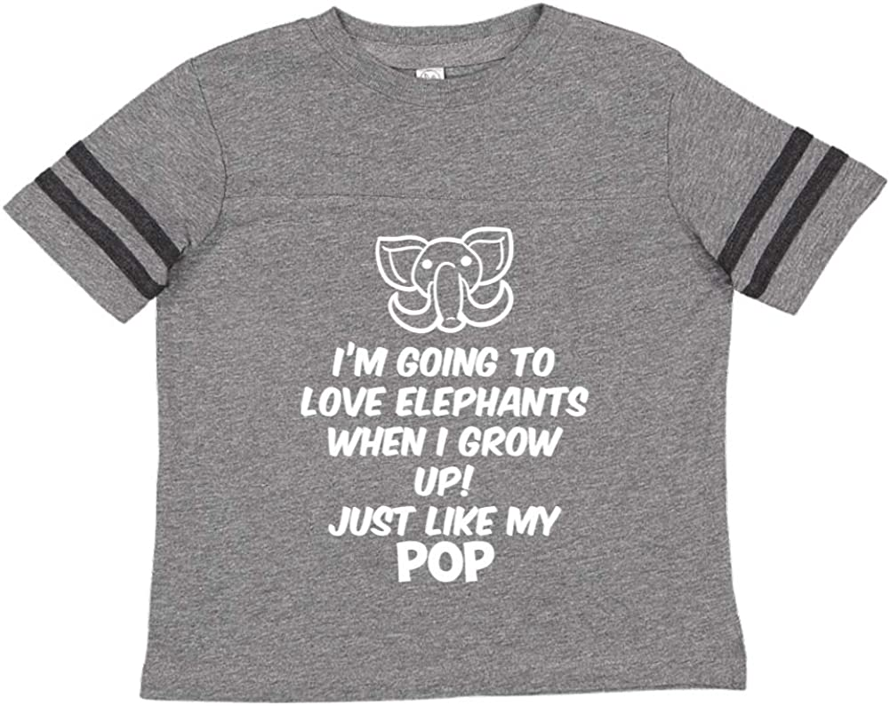 Just Like My Pop Toddler//Kids Sporty T-Shirt Im Going to Love Elephants When I Grow Up