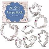 Fall Thanksgiving Cookie Cutter Set with Recipe Book - 7 Piece - Maple Leaf, Turkey, Oak Leaf, Pumpkin, Football, Acorn, Squirrel - Ann Clark - USA Made Steel