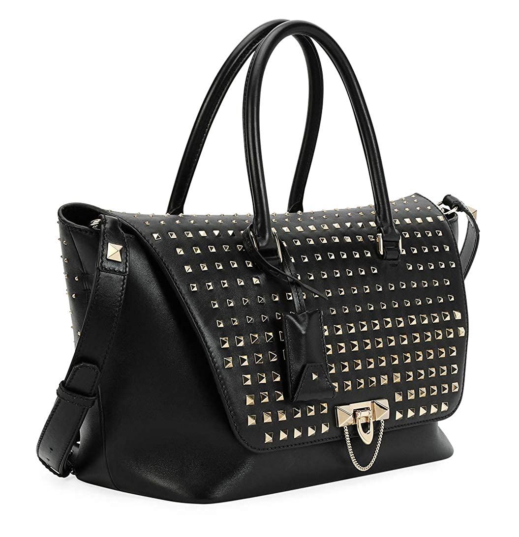fe58400dab694a Valentino Garavani Women's Black Demilune Vitello Rockstud Handbag: Handbags:  Amazon.com