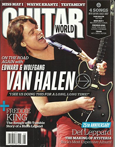 Guitar World Magazine August 2012 Eddie Van Halen Cover, 25th Anniversary The Making of Hysteria, 4 Songs with Bass Tabs: Van Halen Tattoo, Train Hey Soul Sister, Freddie King Have You Ever Loved A Woman and More (Van Halen Tattoo)