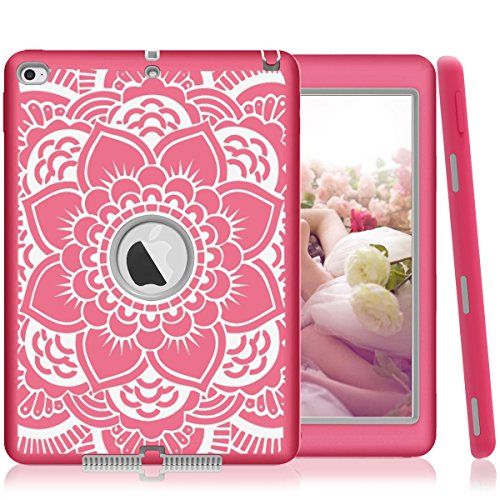 iPad Air 2 Case, iPad A1566/A1567 Case, Hocase Shock Absorbent Hybrid Dual Layer Hard Rubber Protective Case with Cute Mandala Floral Print for Apple iPad Air 2nd Generation (2014) - Hot Pink / Grey