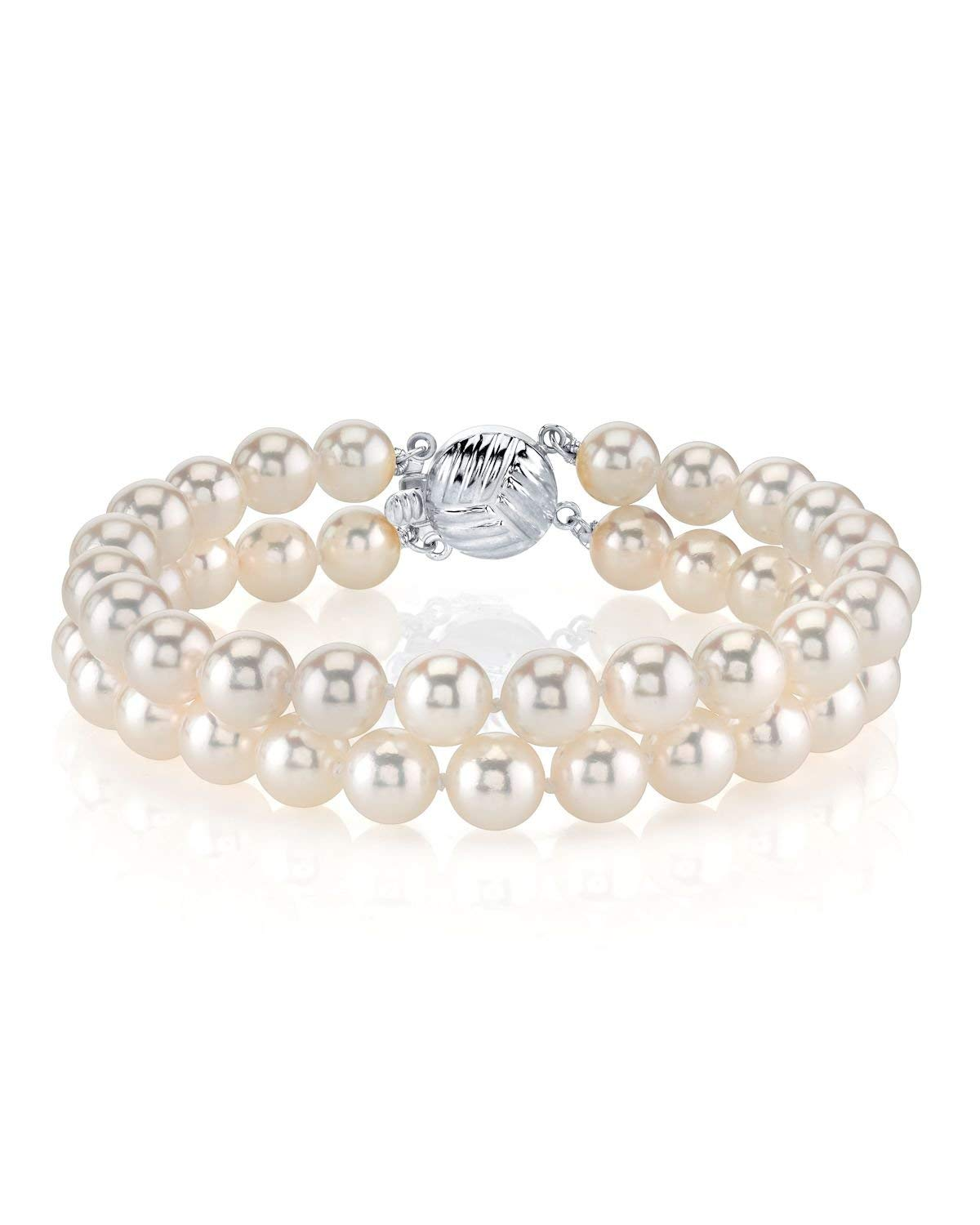 THE PEARL SOURCE 14K Gold 6.5-7mm Round White Double Japanese Akoya Saltwater Cultured Pearl Bracelet for Women