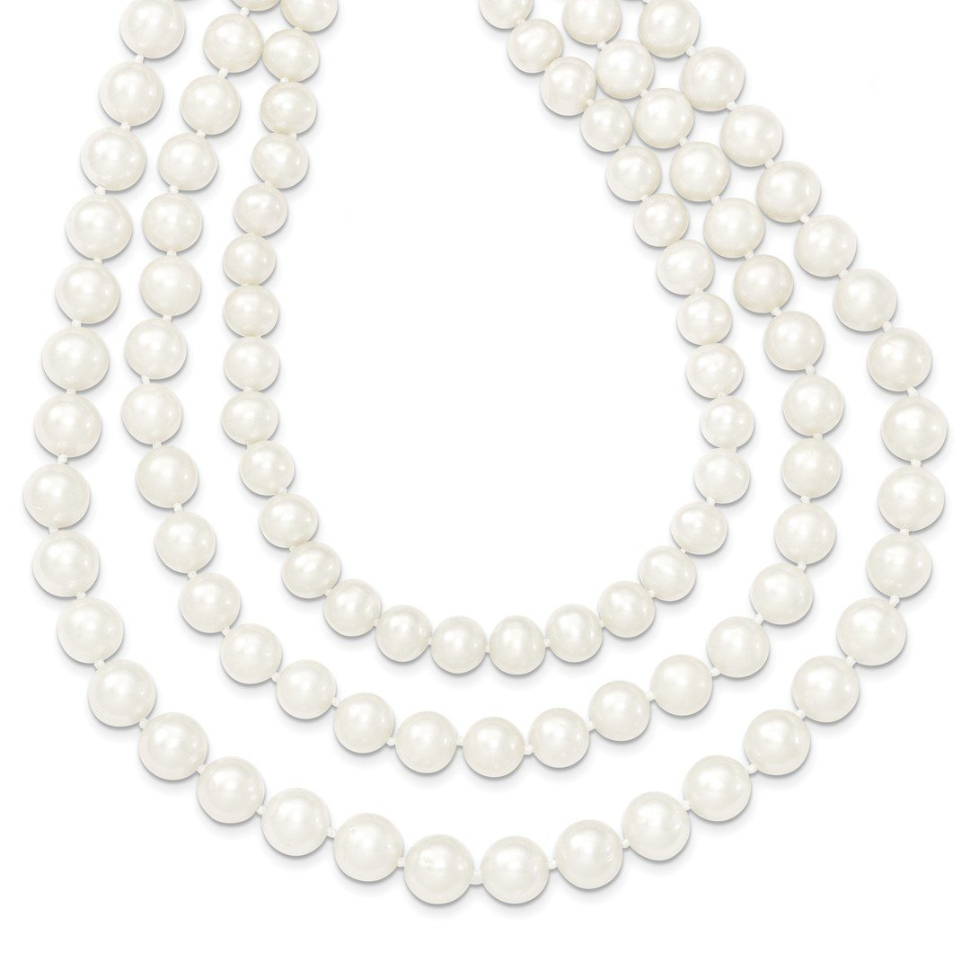 ICE CARATS 14k Yellow Gold 9mm White Freshwater Cultured 3 Strand Pearl Chain Necklace Fine Jewelry Gift Set For Women Heart