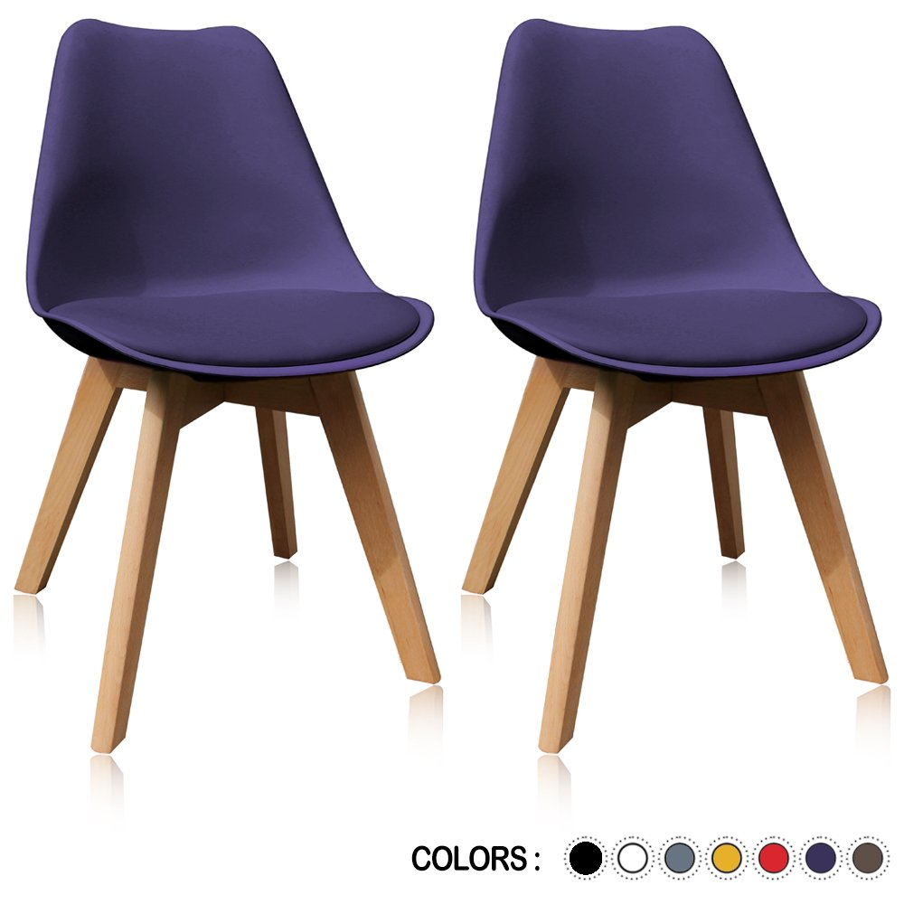 Krei Hejmo Plastic Dining Chair Side Chair with Wooden Base - Set of Two (2) (Purple)