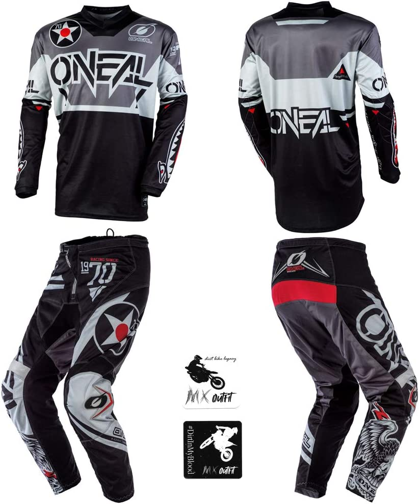 Pants W34 // Jersey X-Large ONeal Element Warhawk Black//Gray Adult motocross MX off-road dirt bike Jersey Pants combo riding gear set