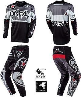 O'Neal Element Warhawk Black/Gray Adult motocross MX off-road dirt bike Jersey Pants combo riding gear set (Pants W36 / Jersey Large)