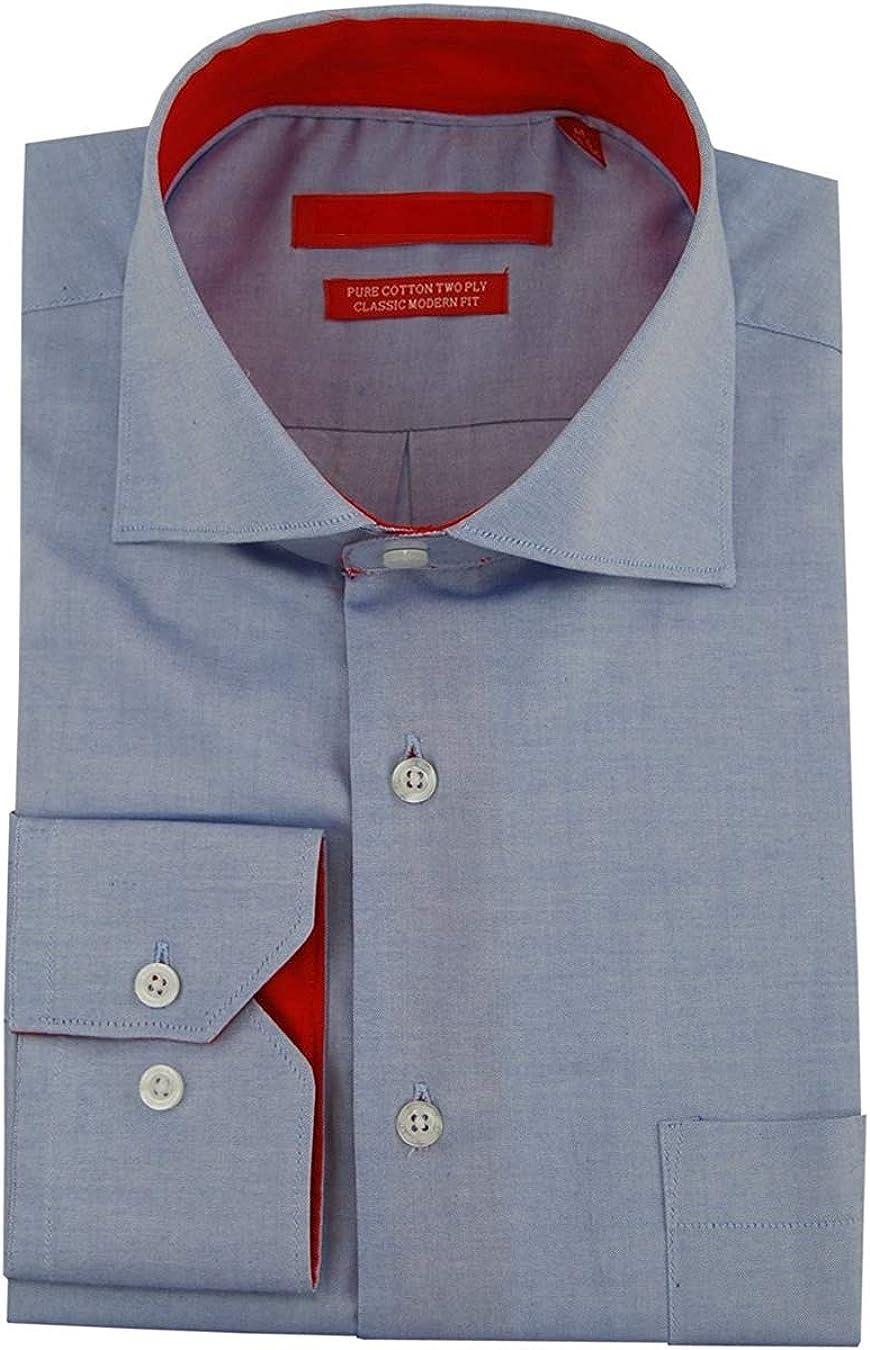 Gino Valentino - Camisa de Vestir para Hombre, 100% algodón - Azul - 17