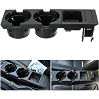 Docooler Car Front Center Console Drink Cup Holder + Coin Holder Tray for BMW 3Series E46 1998-2004 Black