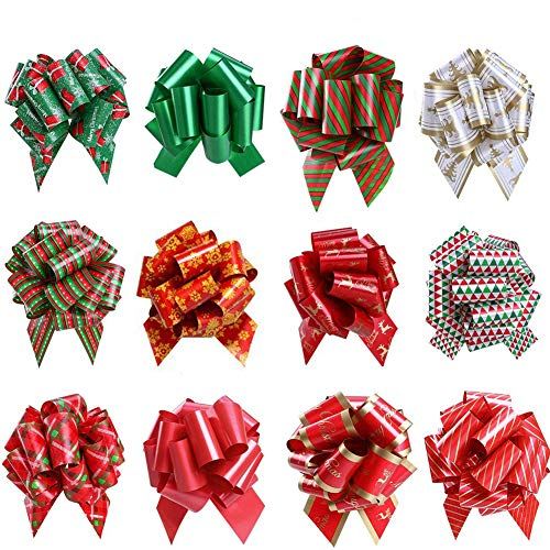 Christmas Gift Ribbon Pull Bows for Holiday Decoration, Christmas Gifts Wrapping, Bows, Baskets and Wine Bottles Decoration Pack of 12
