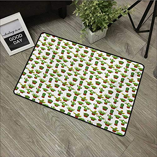 Caprice Vase - Bathroom mat W35 x L47 INCH Cactus,Abstract Floral Pattern with Vases and Pots Botany Spring Season Cartoon,Green Brown Marigold Non-Slip Door Mat Carpet