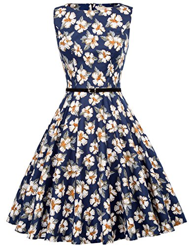GRACE KARIN Women's Wedding Dress 50s Style Dress Floral Print Size L F-57