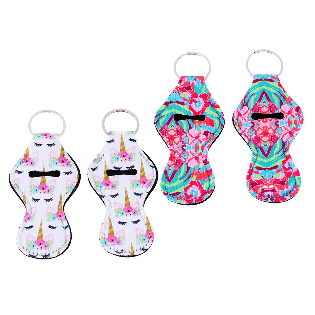 D DOLITY 4pcs Handy Lip Balm Chapstick Holder Tracker Key Chains Gift for Kids & Adults