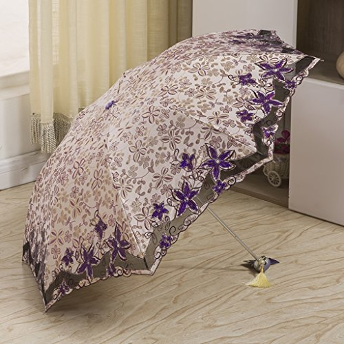 vent dentelle Parapluie soleil Lunettes Parapluie Trois soleil C C ZZJ pare pliée de de Parapluie en solaire UV coupe Protection Couleur SX brodé soleil Cpq7tw