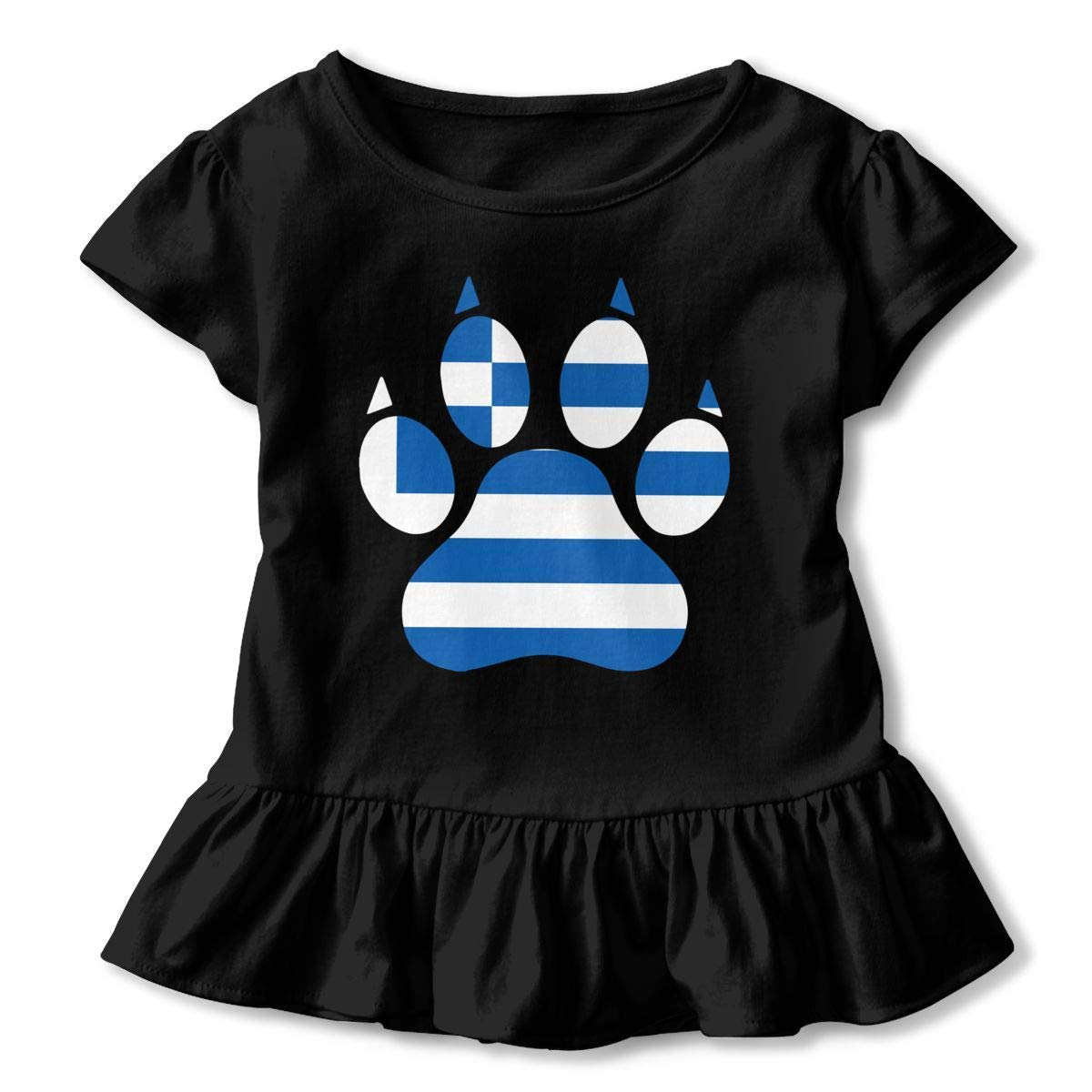 2-6T Short-Sleeve Greece Dog Paw T-Shirts for Kids Casual Blouse Clothes with Falbala