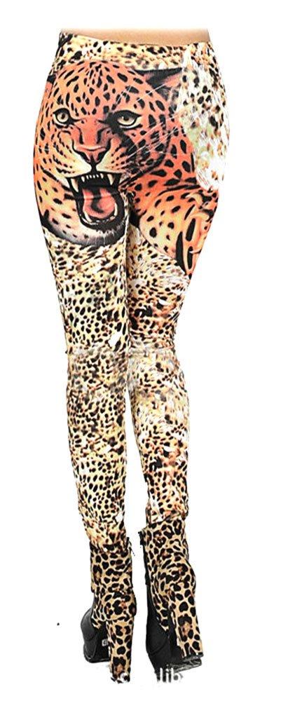 SACASUSA Sexy Fashion Orange Yellow Brown Leopard Print Footless Leggings S ~ M