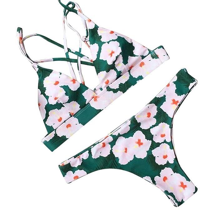 HARRYSTORE Mujeres Atractivo Push-Up Bra Sujetador Beach Bikini Set traje de baño Cherry Blossom