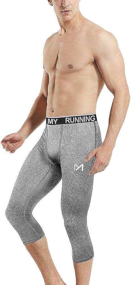 Cool Dry Sport Workout HeatGear Capri Base Layer Running Cycling MEETYOO Mens 3//4 Compression Pants Leggings Tights