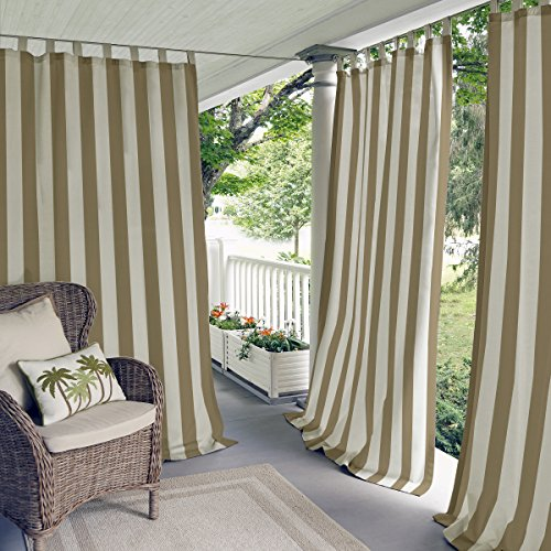Elrene Home Fashions 026865874464 Indoor/Outdoor Tab Top Stripe Single Panel Window Curtain Drape, 50