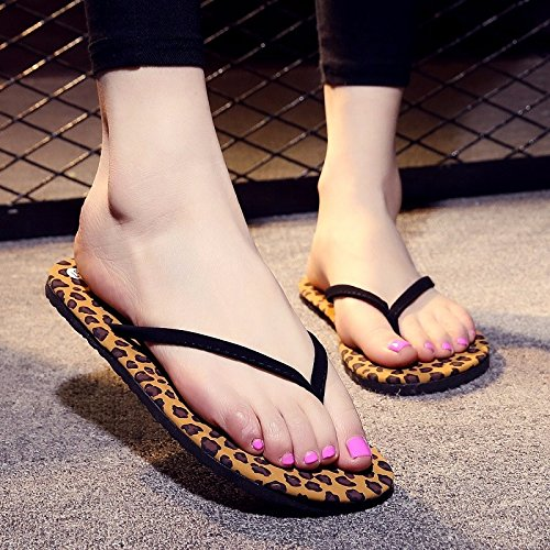 La señora Sommer Rutschige moda versión coreana, llevaba Flip Flops, hembras Rutschfeste Ping con simples Clip pies beach sandalias. Leopard