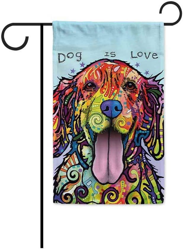Derberha Goldie Golden Retriever Design Garden Flags - Dean Russo Art Loves Dogs