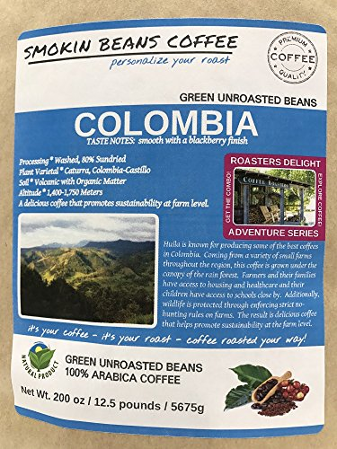 25-lbs COLOMBIA – ADVENTURE SERIES – Unroasted Green SPECIALTY-GRADE Coffee Beans, FRESH-HARVEST – HUILA known for Producing Best Coffee in Colombia – Sustainably Grown under Rainforest Canopy-1750M by Smokin Beans (Image #4)