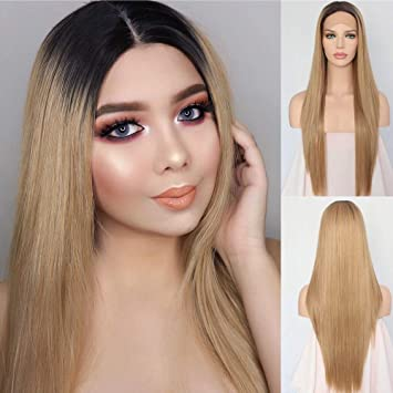 Amazon.com   Udreamy Natural Straight Synthetic Lace Front Wig Ombre Brown  To Blonde Heat Resistant Wigs For Women Christmas Party Wear 24 Inch    Beauty 06d10690b