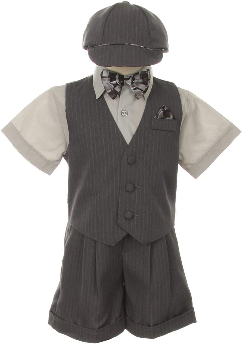Dress Shorts Suit Tuxedo Outfit Set-Infant Baby Boys /& Toddler,Gray Pinstripe