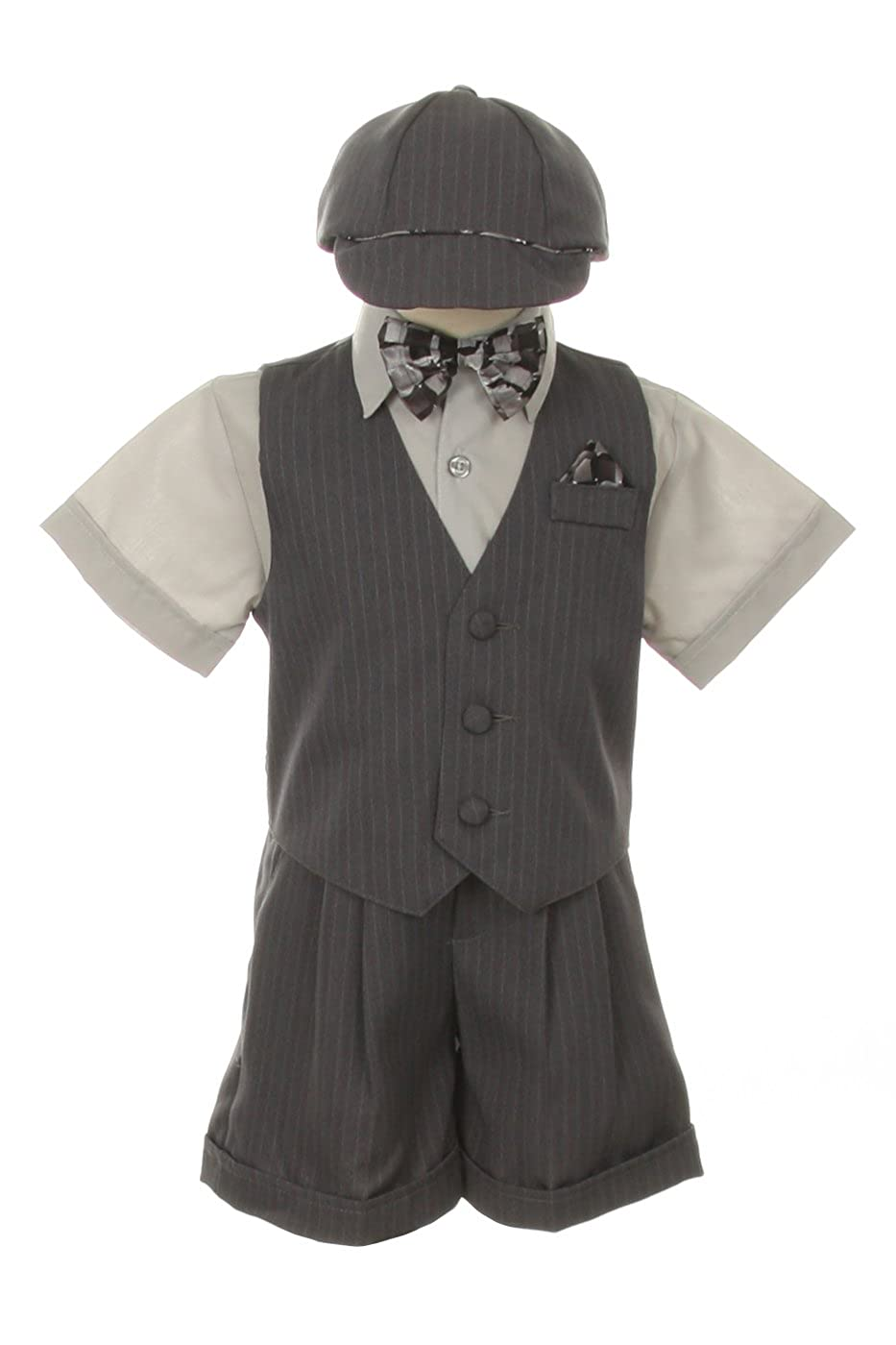 Dress Shorts Suit Tuxedo Outfit Set-Infant Baby Boys & Toddler,Gray Pinstripe