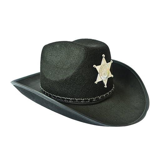 3e1c9b3ca07 Amazon.com  Cowboy Hat Western Sheriff Hat Fancy Dress Cowboy Themed  Birthday Halloween Christmas Party Costume  Clothing