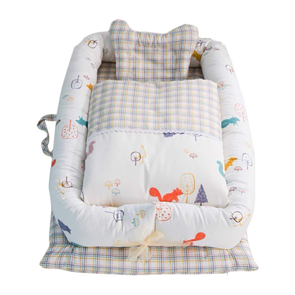 HUYP Baby Sleep Pod Nest Game Mat Newborn Bionic Mattress Portable Crib Anti-Pressure Warm Cotton Cartoon 0-2 Years Old (Color : Beige A)