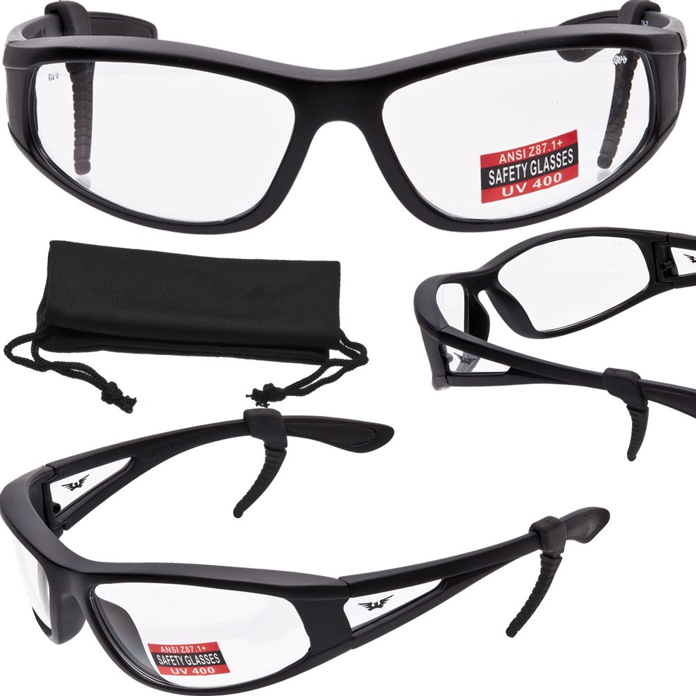 TITAN-INTEGRITY - Advanced System Safety Glasses - MATTE Black Frame - Free Rubber EAR LOCKS and Microfiber Storage/Cleaning Pouch