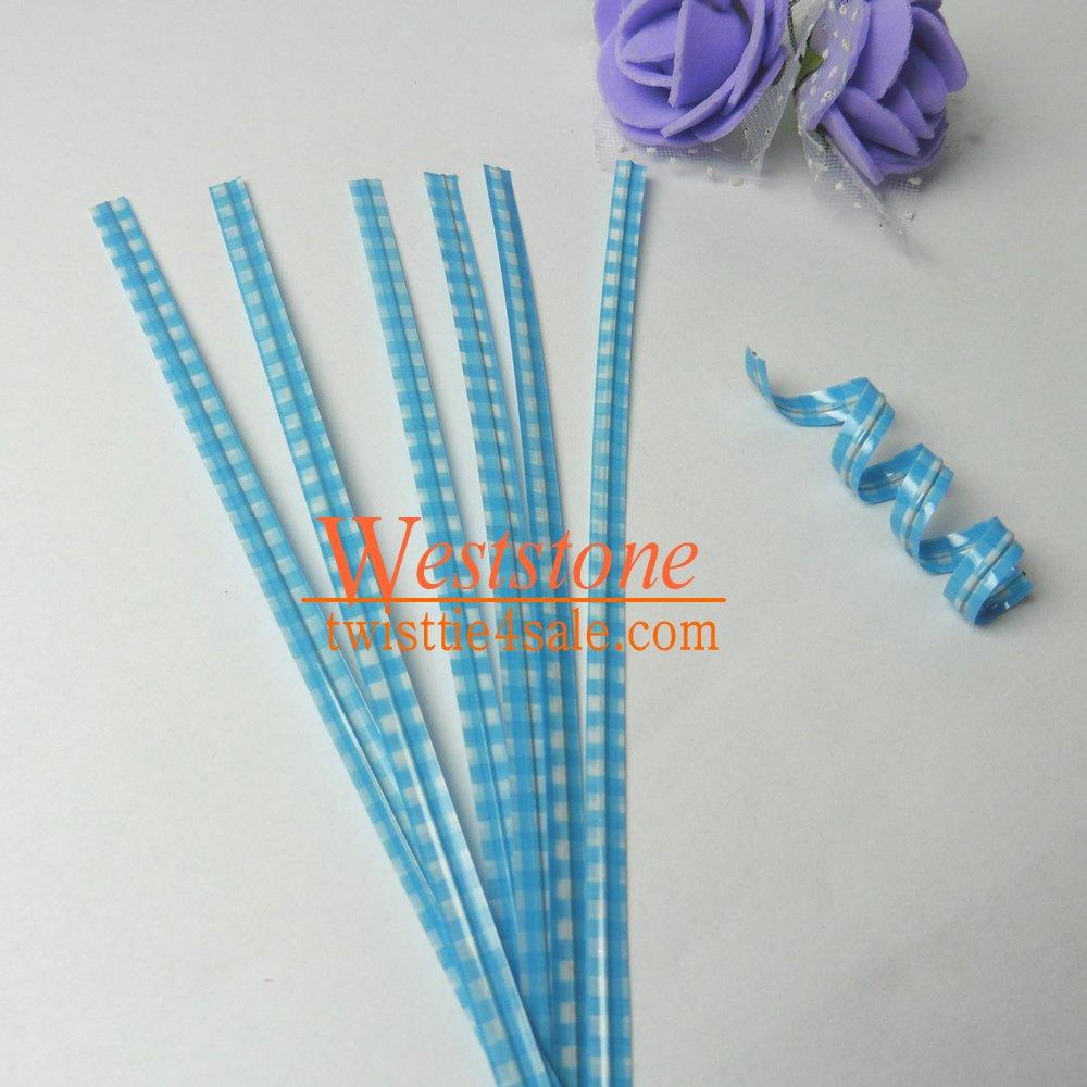 Weststone - 50 Pcs 4'' Blue Plaid Plastic Twist Ties for Cello Bags - Blue