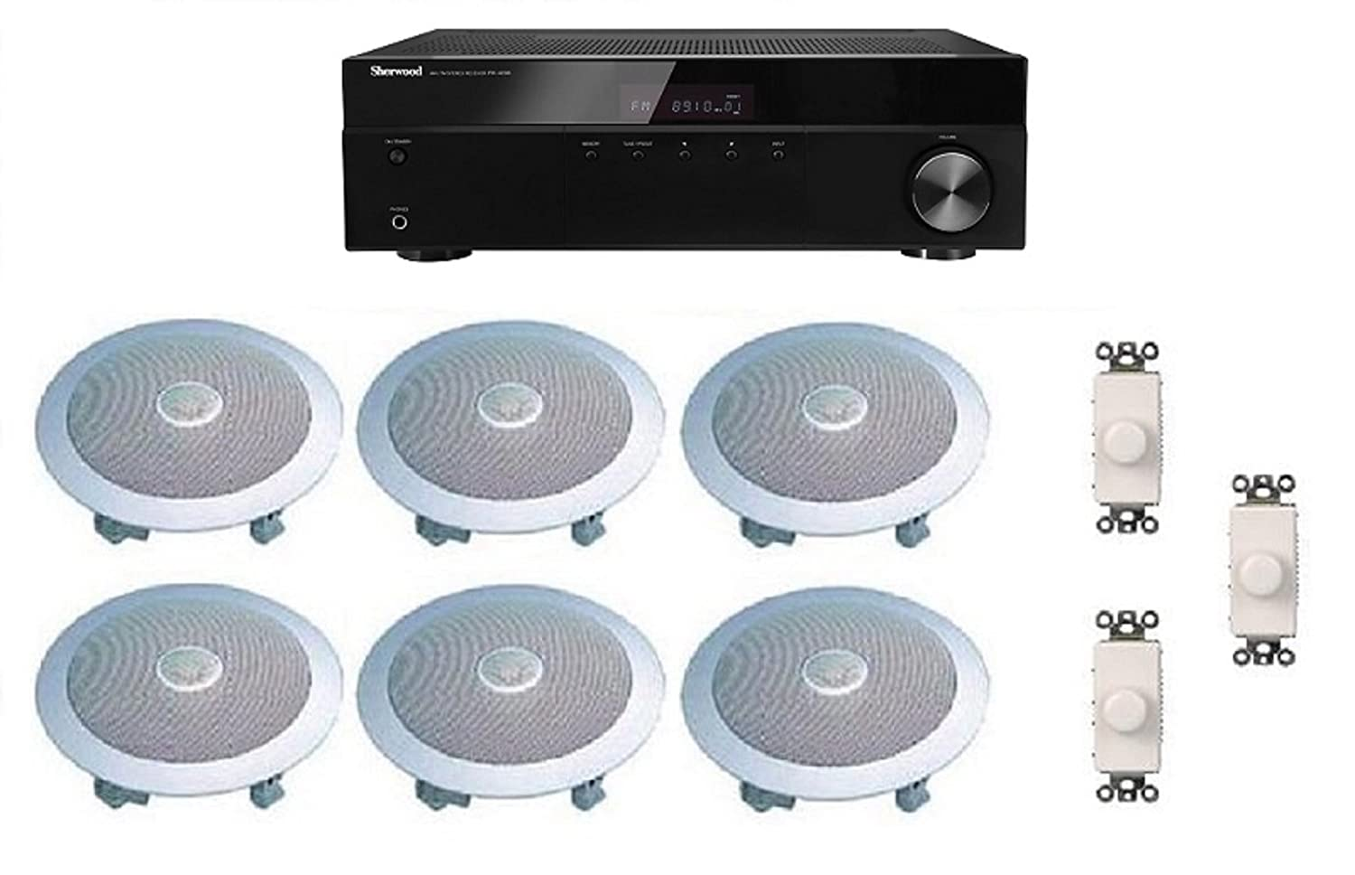 Distributed Home Audio Whole House Sound System- Ceiling Speakers and Wall Volume Controls for 3+ Rooms