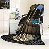 AmaPark Digital Printing Blanket Inside View of A Hotel with Bathtub in The Circle Summer Quilt Comforter
